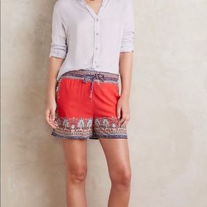 Anthropologie Scarf Printed Shorts